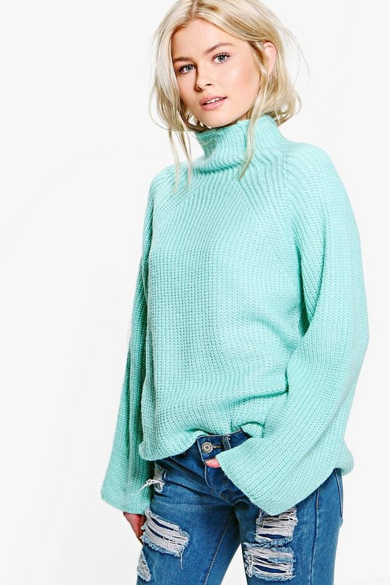 Daisy Funnel Neck Knitted Jumper