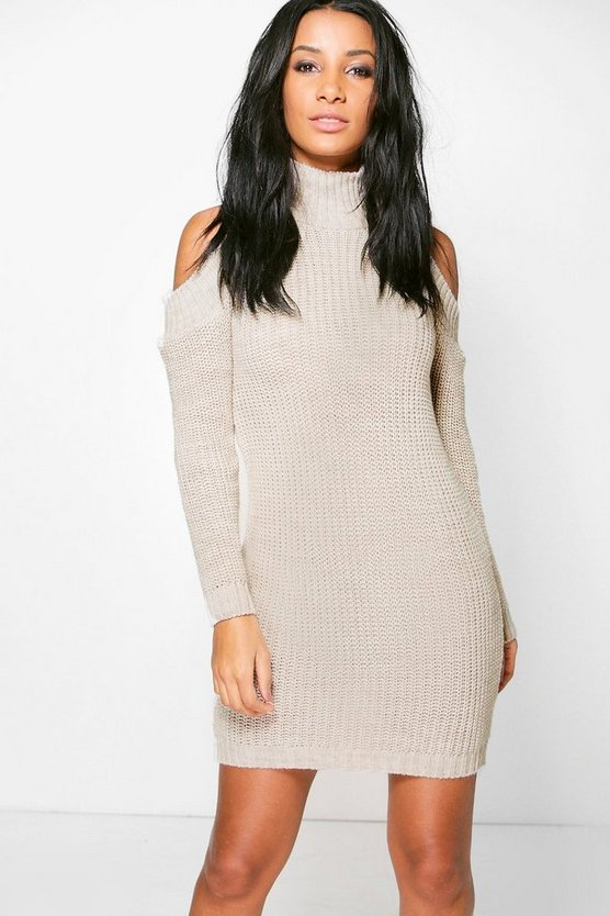 Niamh Turtle Neck Cold Shoulder Jumper Dress