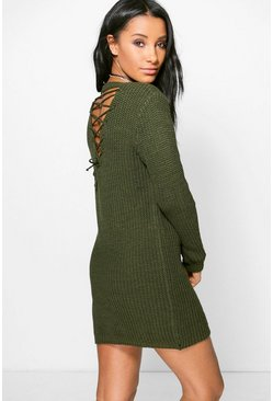 Frances Lace Up Back Jumper Dress