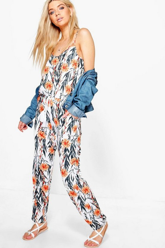 Laura Strappy Floral Print Jumpsuit