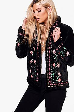 Rosie Embroidered Faux Fur Coat