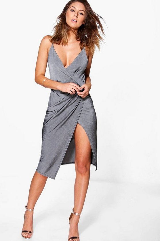 Textured Slinky Draped Midi Dress