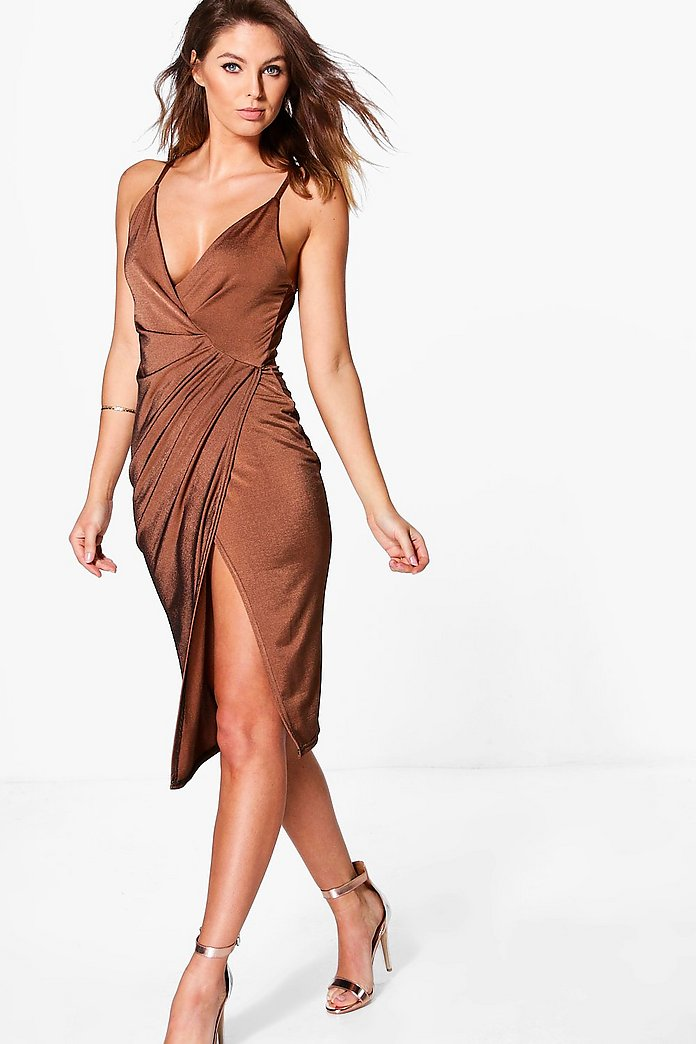 Sasha Textured Slinky Draped Midi Dress