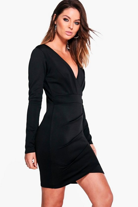 Becki Pleat Detail Wrap Bodycon Dress