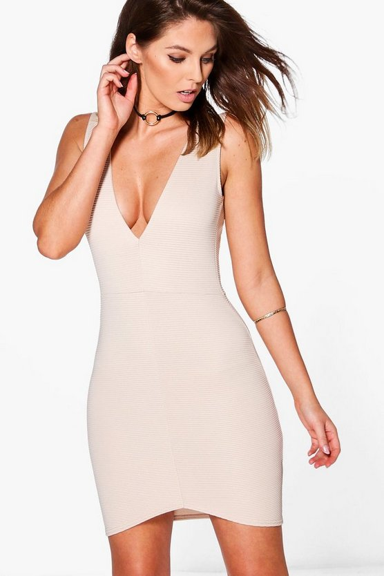Becca Structured Rib Plunge Bodycon Dress