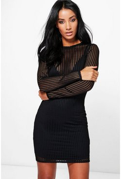 Hannah Cut Out Mesh Bodycon Dress