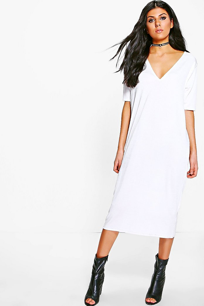 Emma Texture Slinky Column Midi Dress