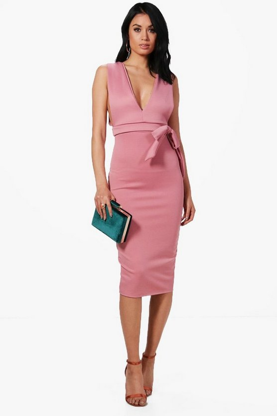 Katy Wrap Waist Plunge Scuba Midi Dress