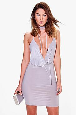 Charlie Wrap Neck Cowl Bodycon Dress