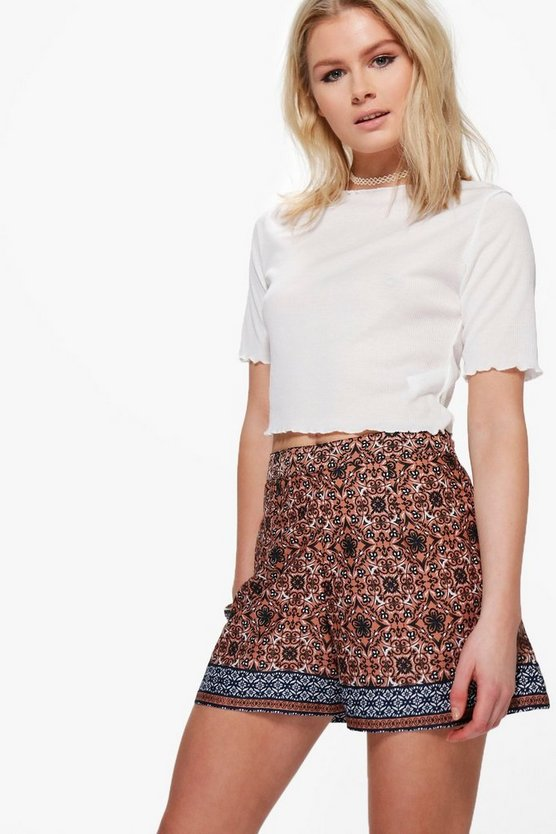 Rose Border Print Shorts