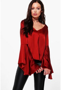 Evelyn Plunge Fluted Sleeve Woven Top
