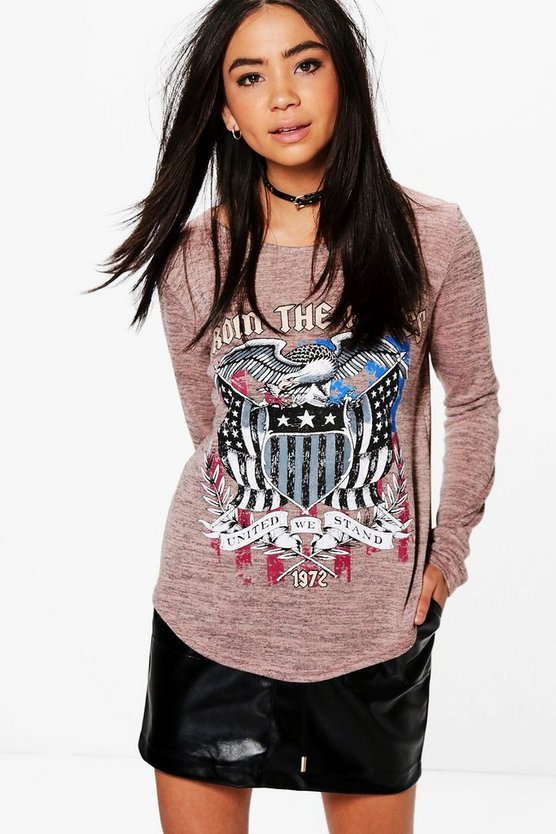 Kerry Printed Long Sleeve Band Tee