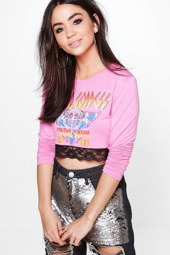 Lizzie Long Sleeve Printed Lace Band Tee