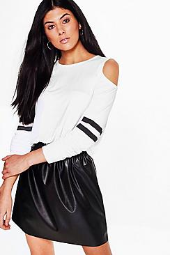 Mia Cold Shoulder Long Sleeve Baseball Stripe Tee