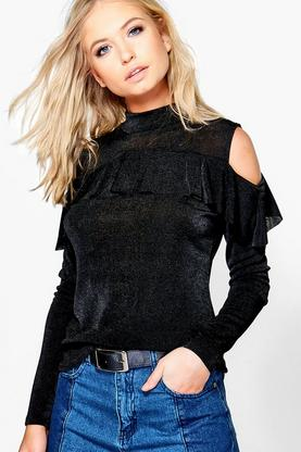 Rebecca Ruffle Cold Shoulder Top
