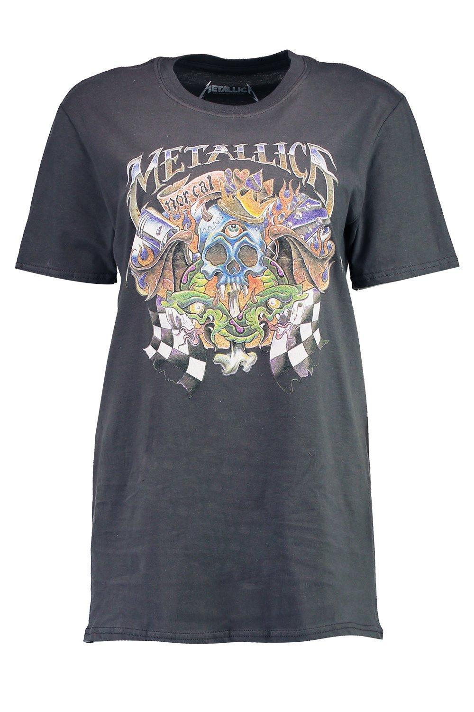 Boohoo Womens Adriana Metallica Washed Out Band T Shirt Ebay