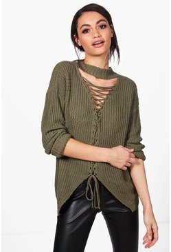 Eve Lace Up Front Choker Jumper