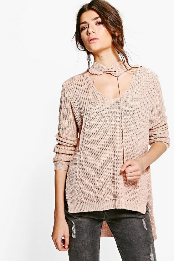 Alisha Lace Up Neck Choker Jumper