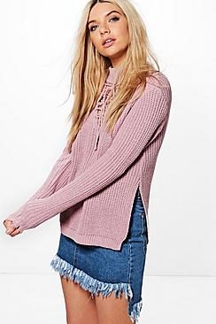 Natalia Lace Up Choker Jumper
