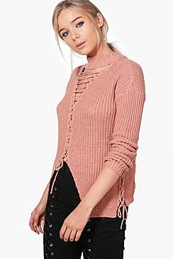 Darcy Extreme Lace Up Detail Choker Jumper