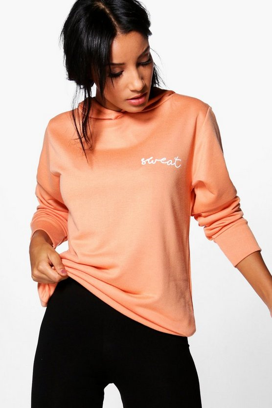 Neve Fit Slogan Running Hooded Sweat