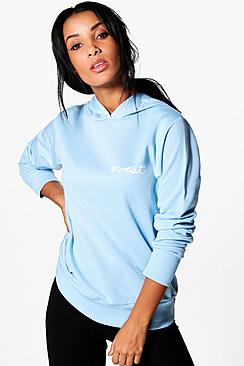 Bella Fit Slogan Running Hooded Sweat