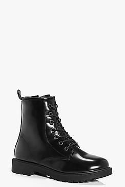 Robyn Patent Lace Up Hiker Boot
