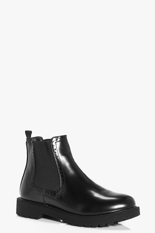 Patent Chelsea Boot - black