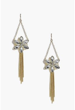 Kayla Floral Diamante Drop Earrings