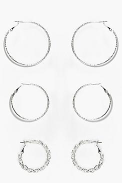 Natasha Mix Pack Textured Hoop Earrings