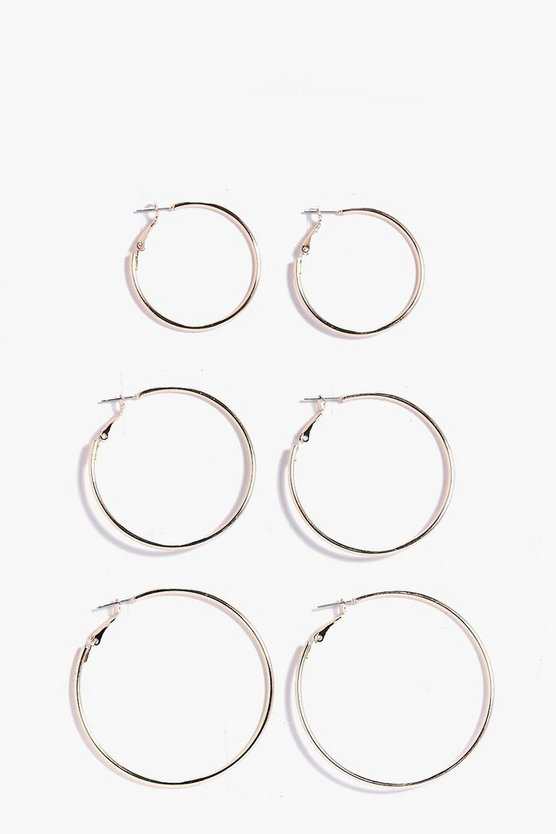 Aaliyah Mixed Size Hoop Earring 3 Pack