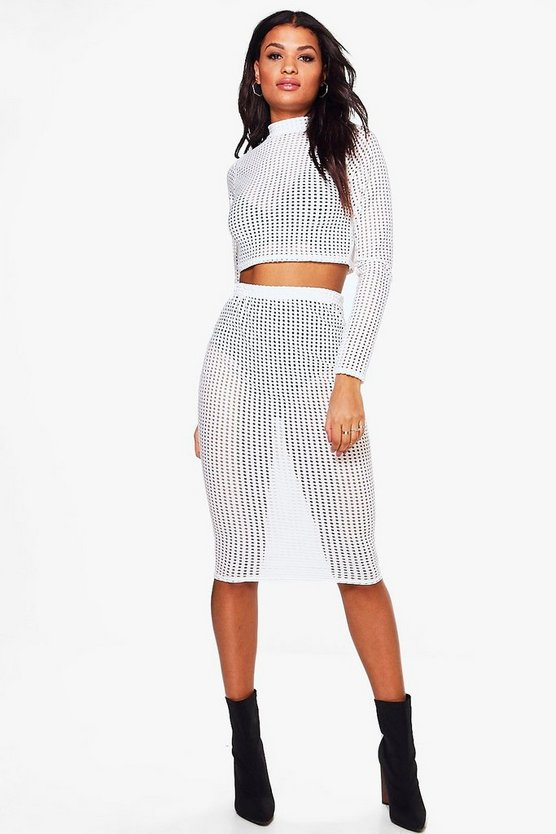 Katie Cut Out Mesh Crop & Midi Skirt
