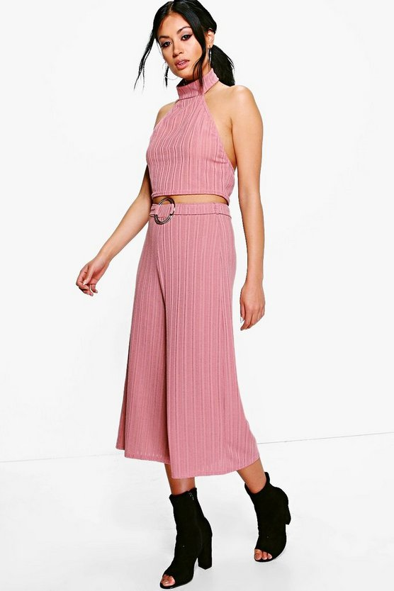 Isla O-Ring Detail Rib Culotte & Crop Co-Ord