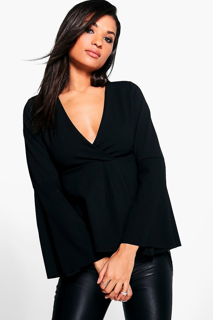 Taylor Long Sleeve Wrap Flared Sleeve Peplum
