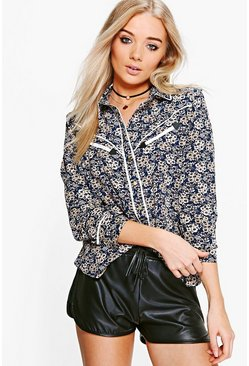 Heather Ditsy Floral Contrast Piping Western Shirt