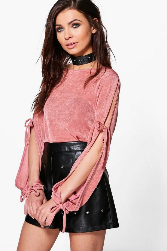 Maddison Premium Fabric Tie Sleeve Top