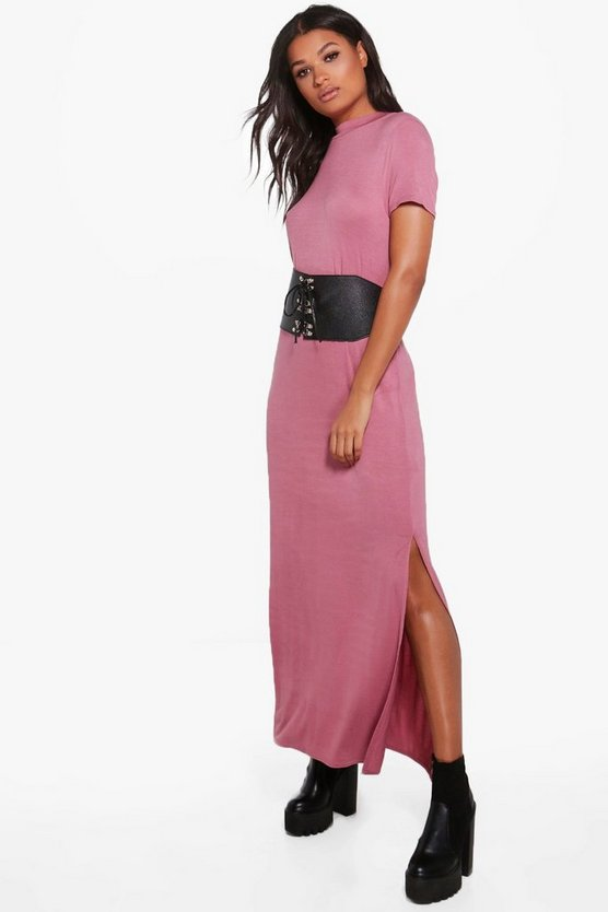 Wendy Side Splits T-Shirt Maxi Dress