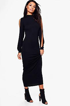 Eve High Neck Split Sleeve Maxi Dress