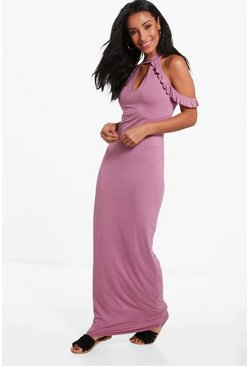 Penny Cold Shoulder High Neck Maxi Dress
