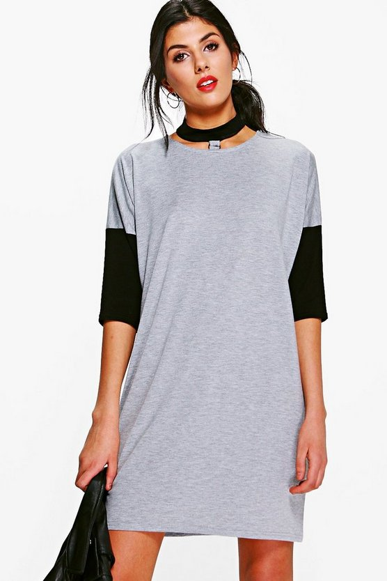 Astley Choker Colour Block T-Shirt Dress