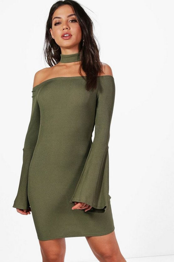 Charly Flute Sleeve Choker Bodycon Dress
