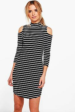 Carmen Stripe Cold Shoulder Bodycon Dress