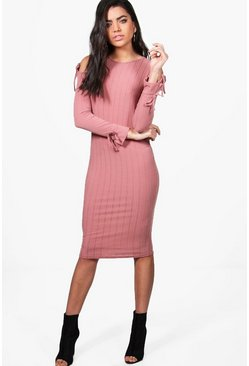 Tina Cold Shoulder Tie Detail Midi Dress