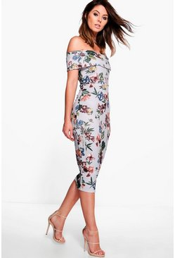Lucie Off Shoulder Floral Midi Dress