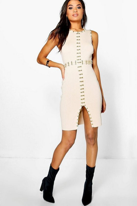 Boutique Rebecca Gold Trim Ribbed Bodycon Dress
