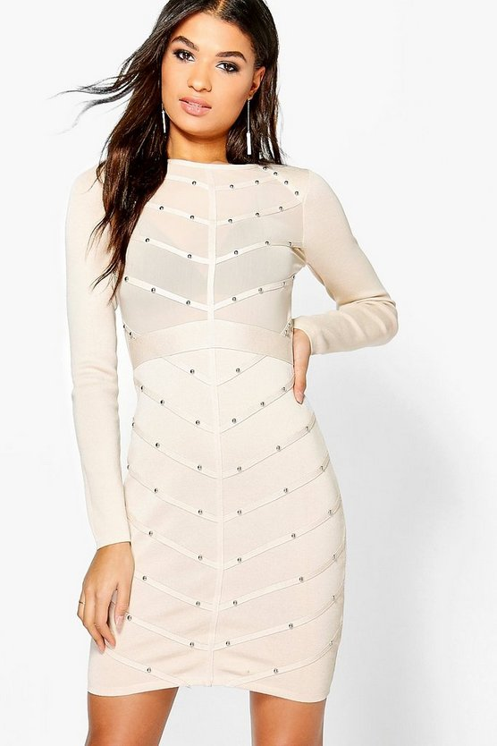 Boutique Bria Studded Ribbed Bodycon Dress