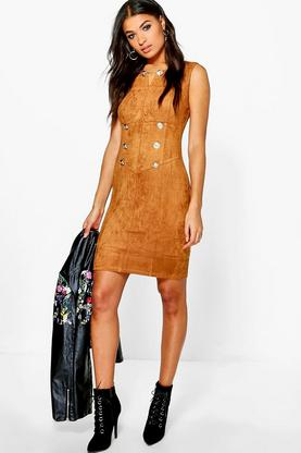 Boutique Ivy Suedette Button Bodycon Dress