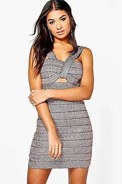 Boutique Misse Metallic Bandage Bodycon Dress