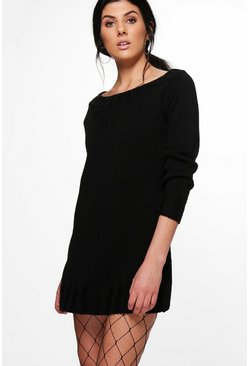 Erin Chunky Rib Bardot Jumper Dress