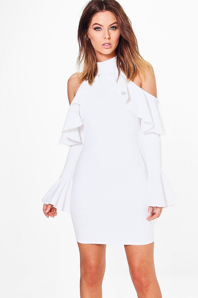 Tess Frill Cold Shoulder Bodycon Dress